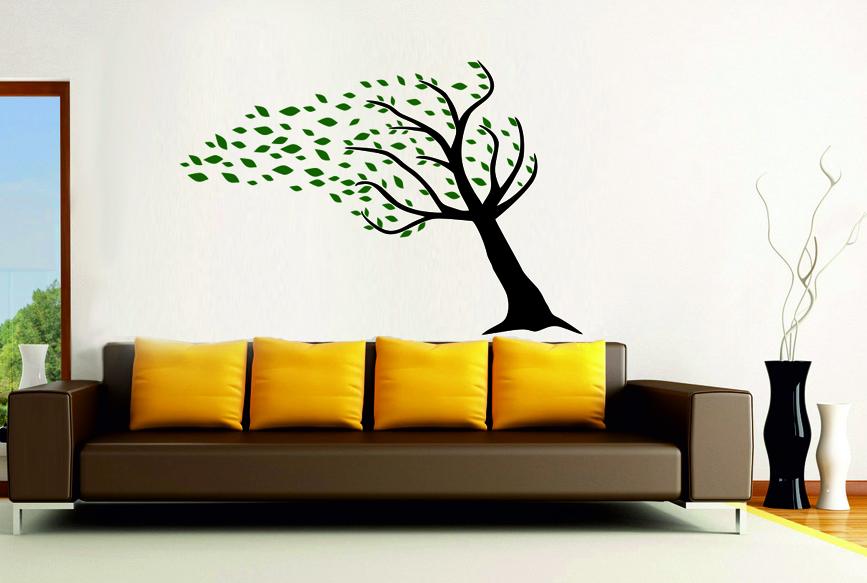 Samolepky na zeď Strom s listím ve větru