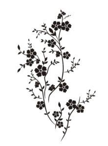 Samolepky na zeď - Keřík s květinkami
